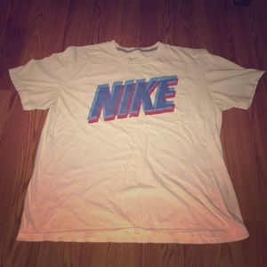 Men's XL NIKE Spellout Tee White Blue & Red